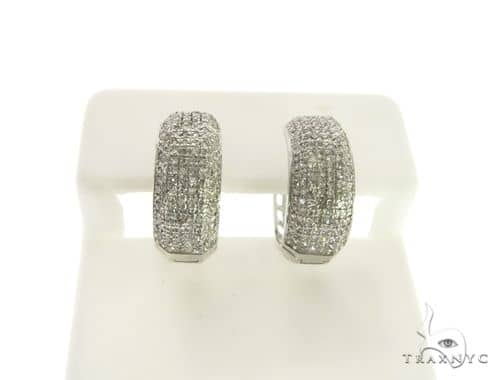 14K White Gold Micro Pave Diamond Stud Earrings. 63276 Stone