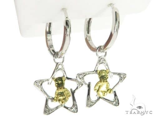 14K White Gold Micro Pave Diamond Star Stud Earrings. 63277 Stone