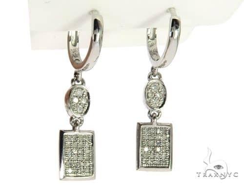 10K White Gold Micro Pave Diamond Stud Earrings. 63279 Stone