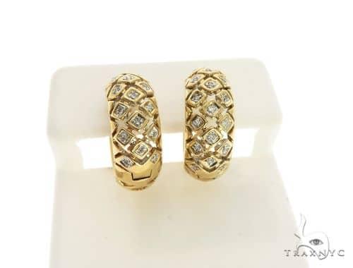 14K Yellow Gold Micro Pave Diamond Stud Round Earrings. 63284 Stone