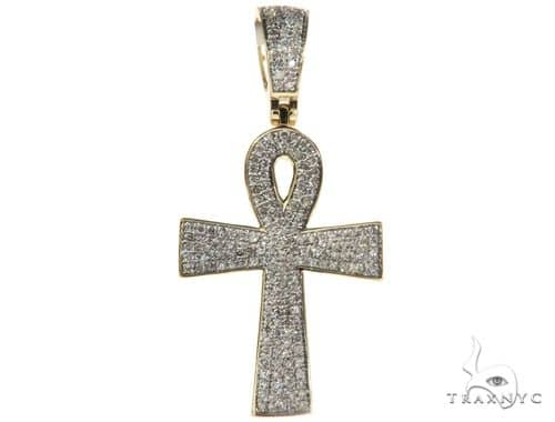 10K Yellow Gold Micro Pave Diamond Ankh Cross Crucifix 63291 Metal