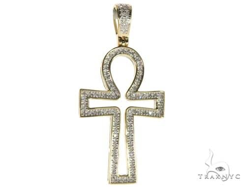 10K Yellow Gold Micro Pave Diamond Ankh Cross Crucifix 63292 Metal