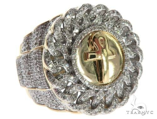 10K Yellow Gold Micro Pave Micro Diamond Ankh Ring 63293 Stone