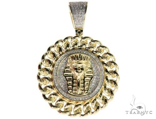 10K Yellow Gold Micro Pave Diamond Pharaoh King Tut Pendant 63294 Metal