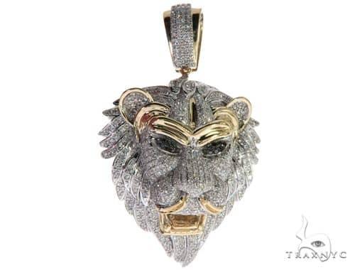 10K Gold Micro Pave Diamond Lion Head Pendant 63298 Metal