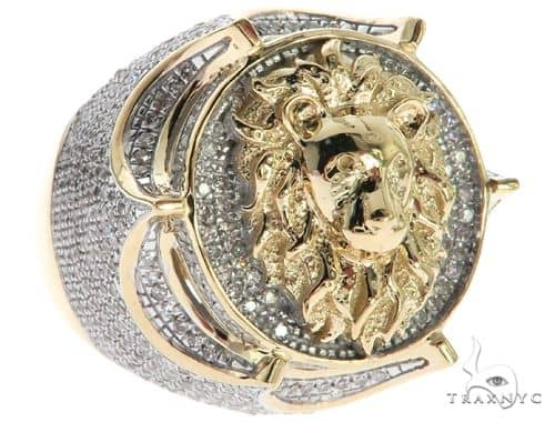 10K Yellow Gold Micro Pave Diamond Lion Head Ring 63299 Stone