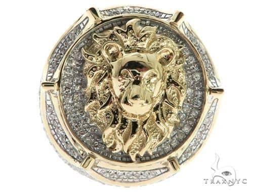10K Yellow Gold Micro Pave Diamond Lion Head Ring 63299 Stone