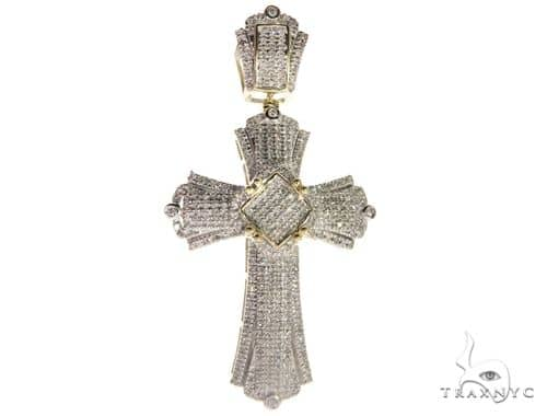 10K Yellow Gold Micro Pave Diamond Cross 63302 Diamond