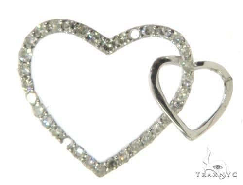 14K White Gold Micro Pave Double Heart Diamond Pendant 63311 Stone