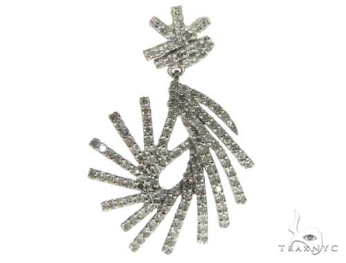 14K White Gold Diamond Stud Design Pendant. 63330 Stone