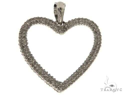 14K White Gold Micro Pave Diamond Heart Pendant. 63331 Stone