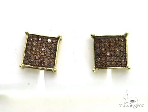 10K Yellow Gold Micro Pave Diamond Stud Earrings. 63335 Stone