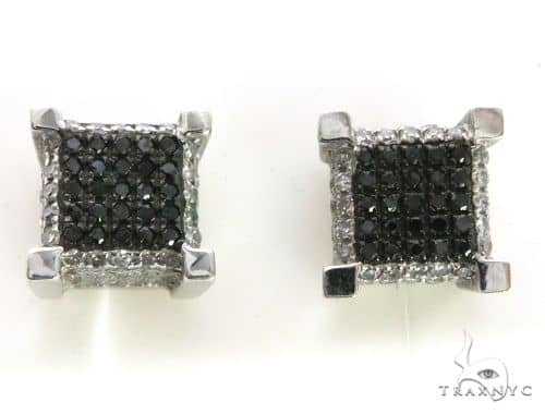 14K White Gold Micro Pave Black & White Diamond Earrings. 63336 Stone