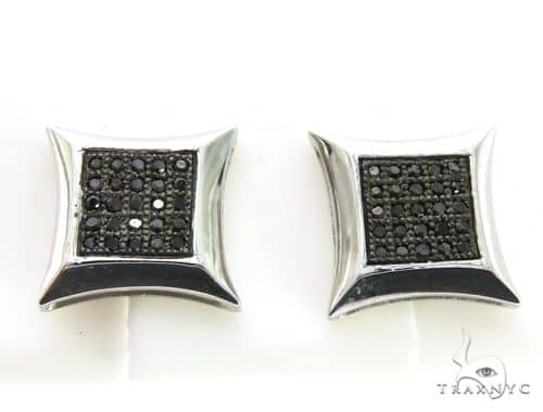 14K White Gold Micro Pave Diamond Stud Earrings. 63337 Stone