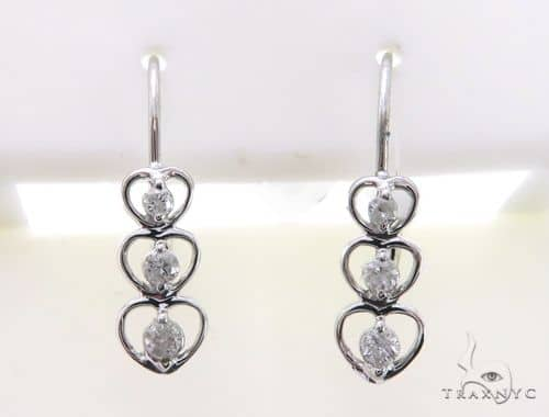 14K Diamond Triple Heart Earrings. 63342 Stone