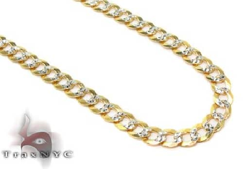 Solid Cuban Diamond Cut Chain 30 Inches 3.5mm 7.35 Grams 63350 Gold