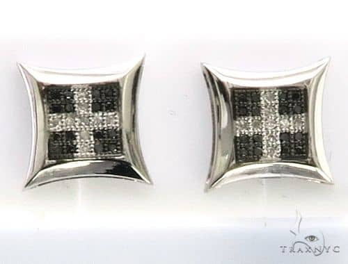 10K White Gold Dual Color Earrings. 63351 Stone