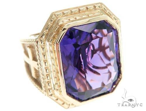 14K Yellow Gold Holy Amethyst Ring 63353 Stone