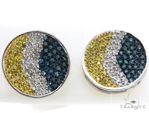 14K White Gold Tri Color Diamond Stud Earrings. 63405 Stone