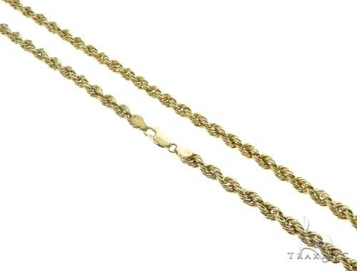 10K Yellow Gold Hollow Rope Link Chain 22 Inches 5mm 8.6 Grams 63386 Gold