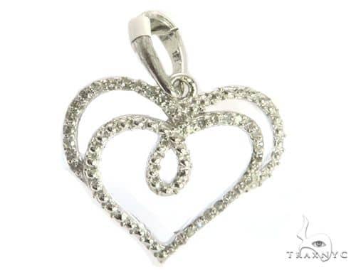14K White Gold Micro Pave Diamond Stud Heart Pendant. 63412 Stone