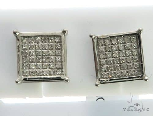 14K White Gold Micro Pave Diamond Square Stud Earrings. 63413 Stone