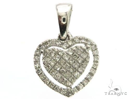 14K White Gold Diamond Stud Heart Pendant 63417 Stone