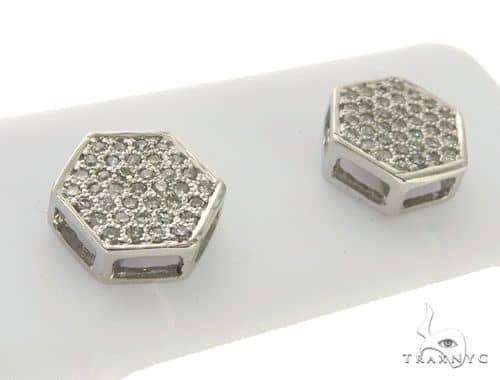 10K White Gold Micro Pave Diamond Polygon Earrings. 63432 Stone