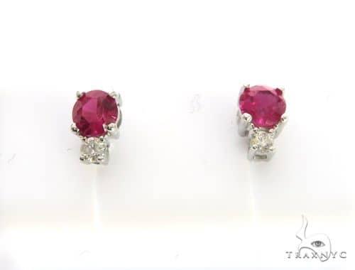 14K Yellow Gold Micro Pave Diamond Stud Earring 63435 Stone