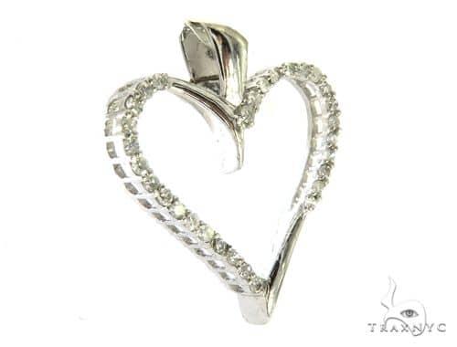 10K White Gold Micro Pave Diamond Fancy Heart Pendant 63448 Stone