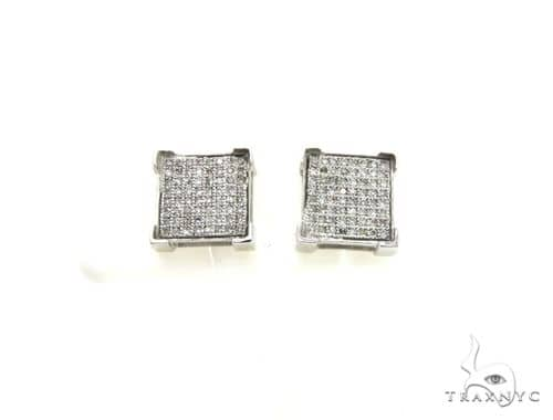 14K White Gold Micro Pave Diamond Stud Earrings. 63449 Stone