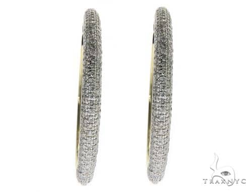 Ladies 5 Row Yellow Gold Diamond Hoop Earrings 20896 Style