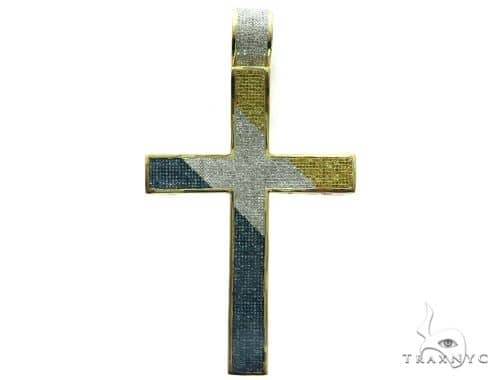 10K Yellow Gold Diamond Stud XL Cross Crucifix Pendant 63468 Metal