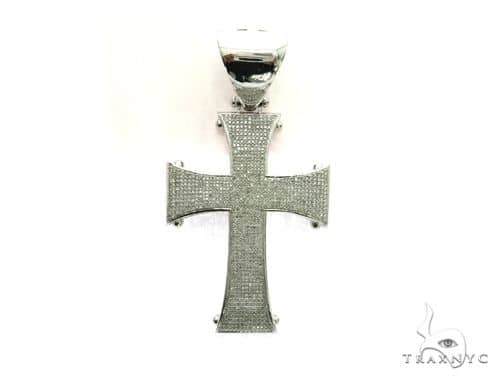 10K White Gold Micro Pave Diamond Cross Crucifix Design Pendant 63471 Metal