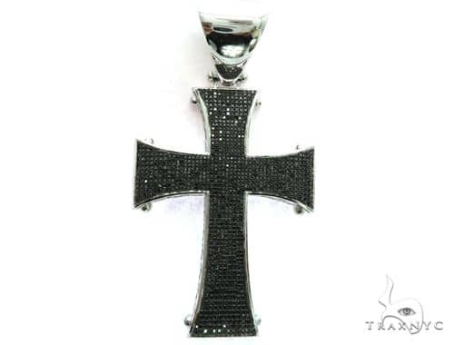 10K White Gold Black Diamond Cross Crucifix Pendant. 63473 Metal
