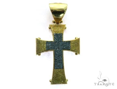 10K Yellow Gold Micro Pave Diamond Cross Crucifix Pendant. 63475 Metal