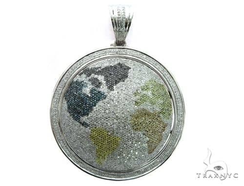 14K White Gold Diamond Globe Pendant 63477 Metal