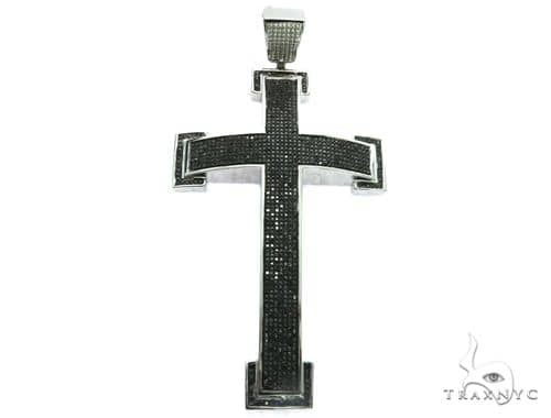 10K White Gold Black Diamond Cross Crucifix Design Pendant. 63479 Metal