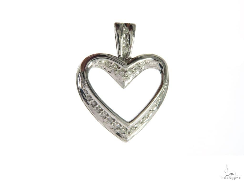 14K White Gold Diamond Stud Heart Pendant. 63485 Stone