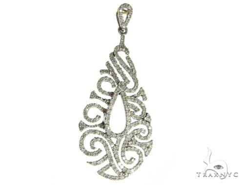 14K White Gold Diamond Stud Design Pendant. 63486 Stone