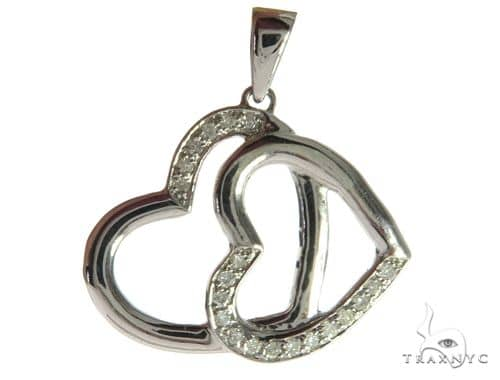14K White Gold Diamond Dual Heart Pendant. 63489 Stone