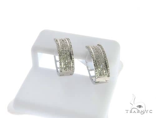 10K White Gold Micro Pave Diamond Stud Earrings. 63490 Stone