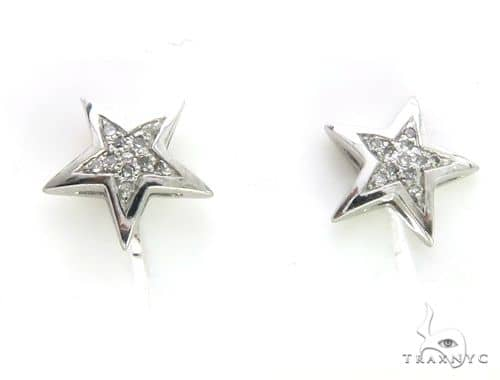 14K White Gold Micro Pave Diamond Stud Star Earrings 63498 Stone