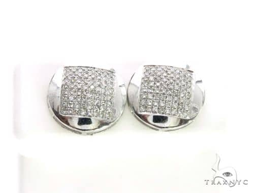 10K White Gold Micro Pave Diamond Stud Earrings 63506 Stone