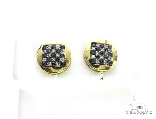 10K Yellow Gold Micro Pave Dual Color Diamond Earrings 63508 Stone