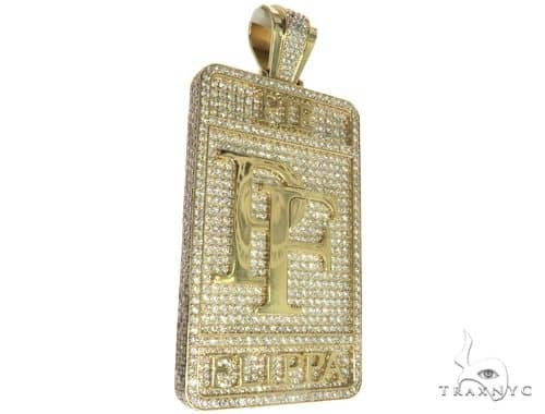 10K Yellow Gold Prong Diamond Custom Made Pie Flippa Pendant 63529 Metal