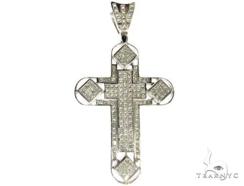 18K White Gold Invisible Channel Diamond Cross Crucifix 63533 Diamond