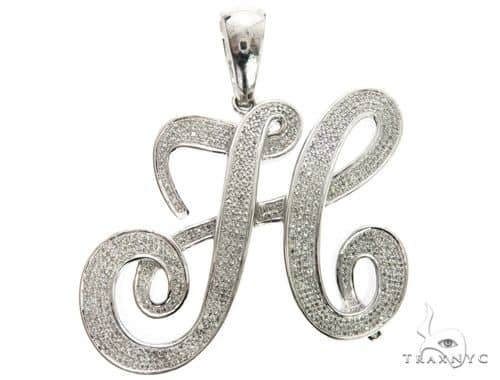 10K White Gold Micro Pave Diamond Initial Letter H Pendant 63539 Metal