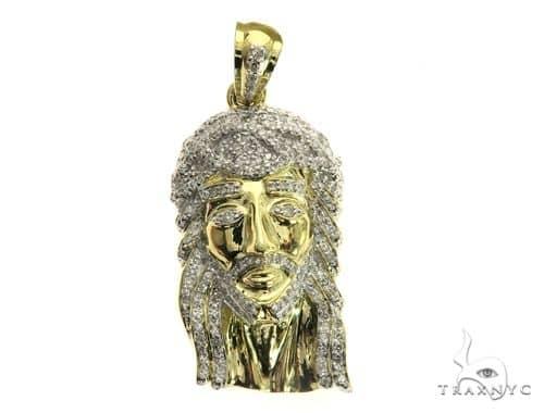 10K White Gold Micro Pave Diamond Jesus Pendant 63541 Metal