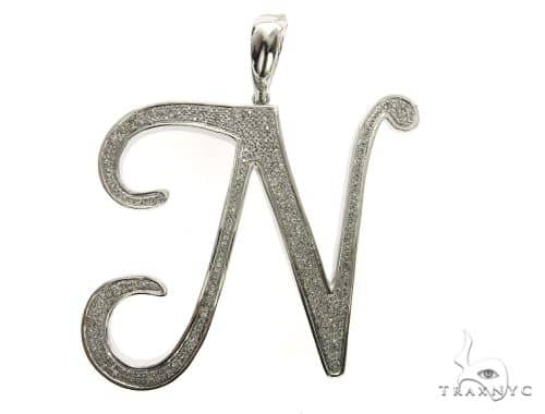 10K White Gold Diamond 'J' Initial Pendant 63553 Metal